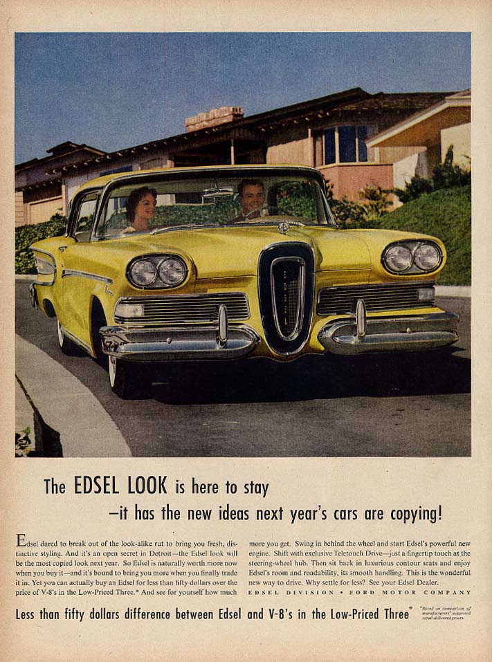The Edsel Look is here to stay - ideas next year's cars are copying ad 1958