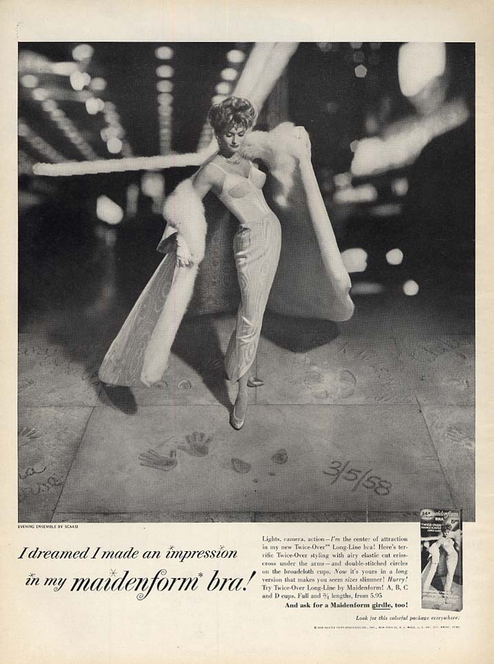 I dreamed I made an impression in my Maidenform Bra ad 1958 L