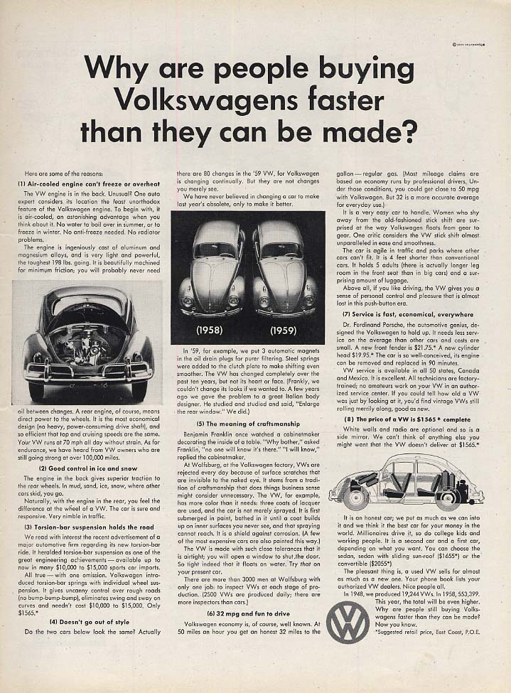Why are people buying Volkswagens faster than they can be made? Ad 1959 L