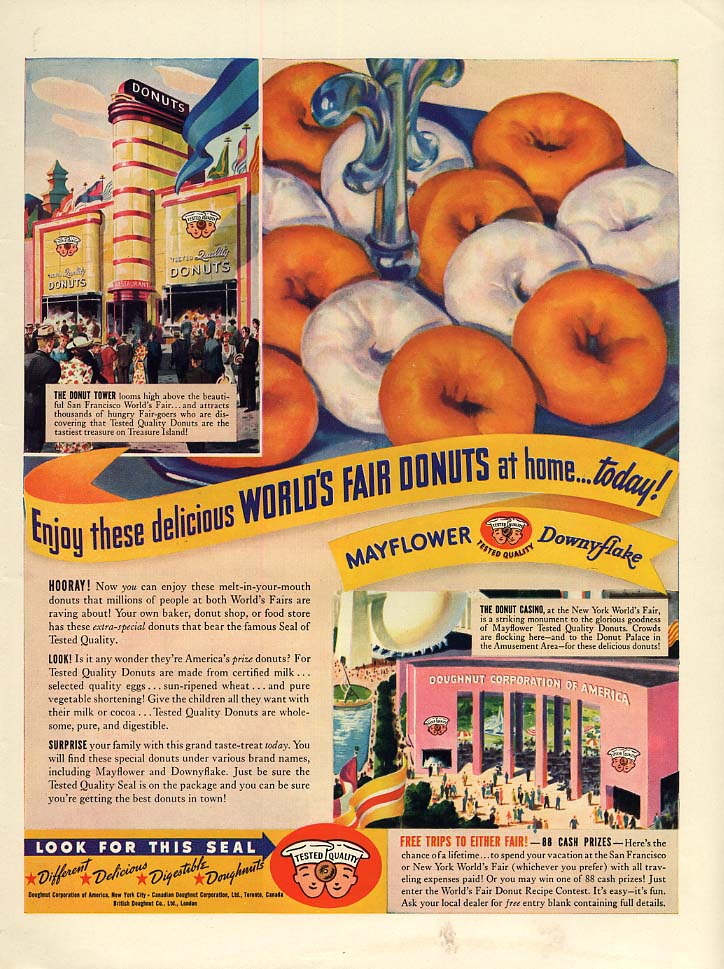 Enjoy these New York World's Fair Donuts at home today! Ad 1939 L