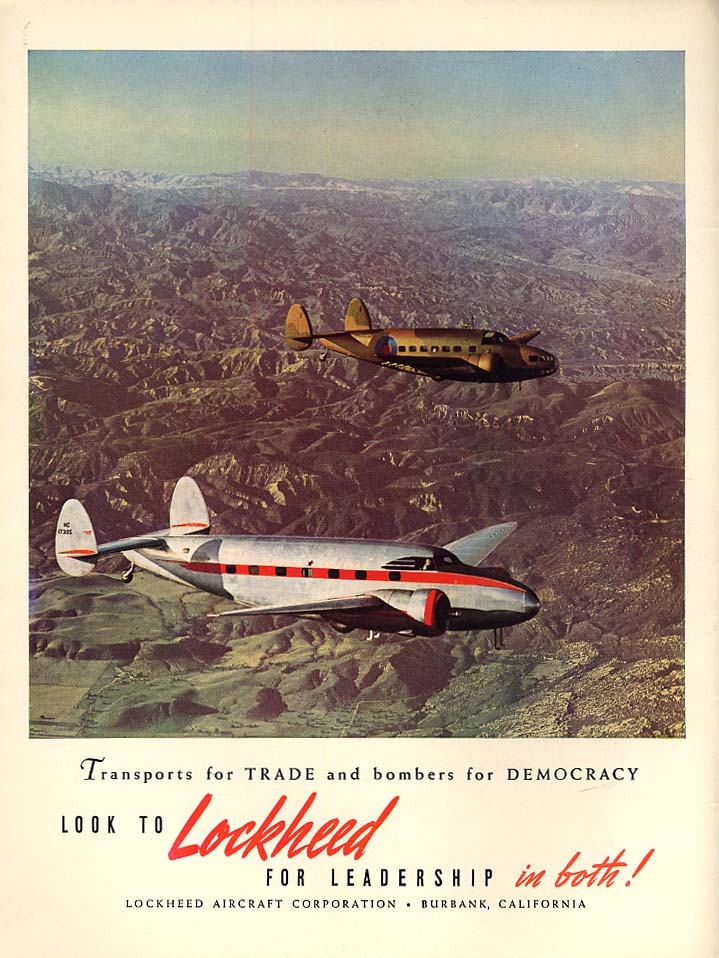 Transports for trade Bombers for Democracy Lockheed Super Electra Hudson ad 1939