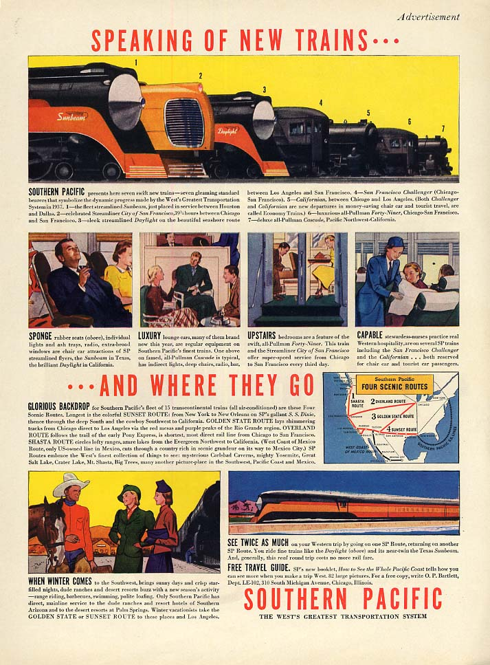 Speaking of New Trains - Southern Pacific Railroad ad 1937 L