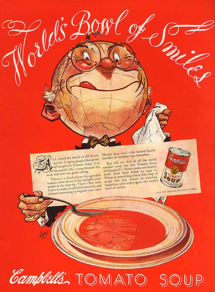 World's Bowl of Smiles - Campbell's Tomato Soup ad 1936 L
