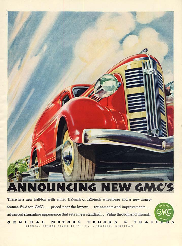 Announcing the new GMC's Panel Truck & Stakebody ad 1937 L