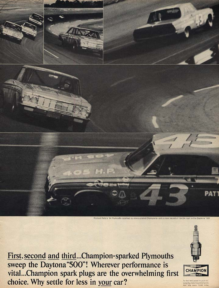 1st 2nd & 3rd Richard Petty Plymouth Daytona 500 Champion Spark Plugs ad 1964