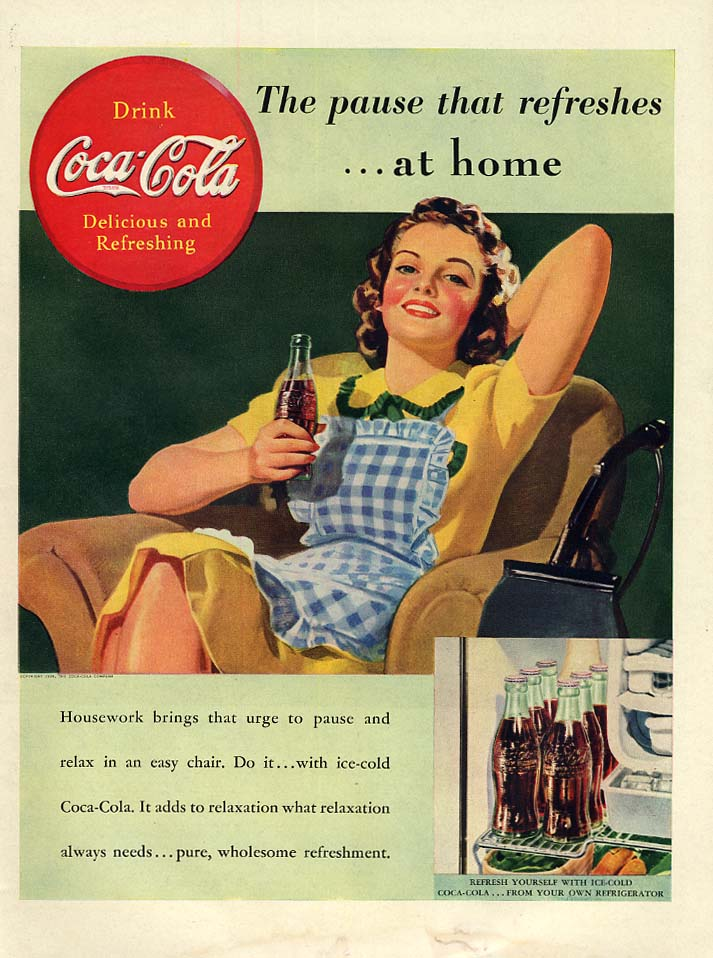 The pause that refreshes at home Coca-Cola ad 1939 housewife in apron L