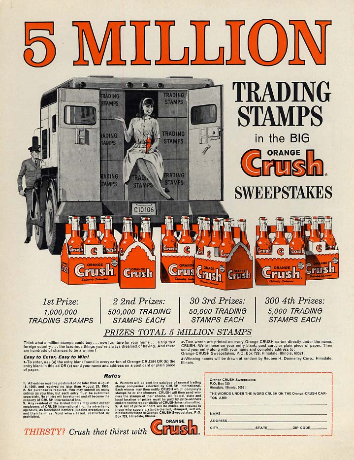 5 million trading stamps Orange Crush Sweepstakes ad 1965 P