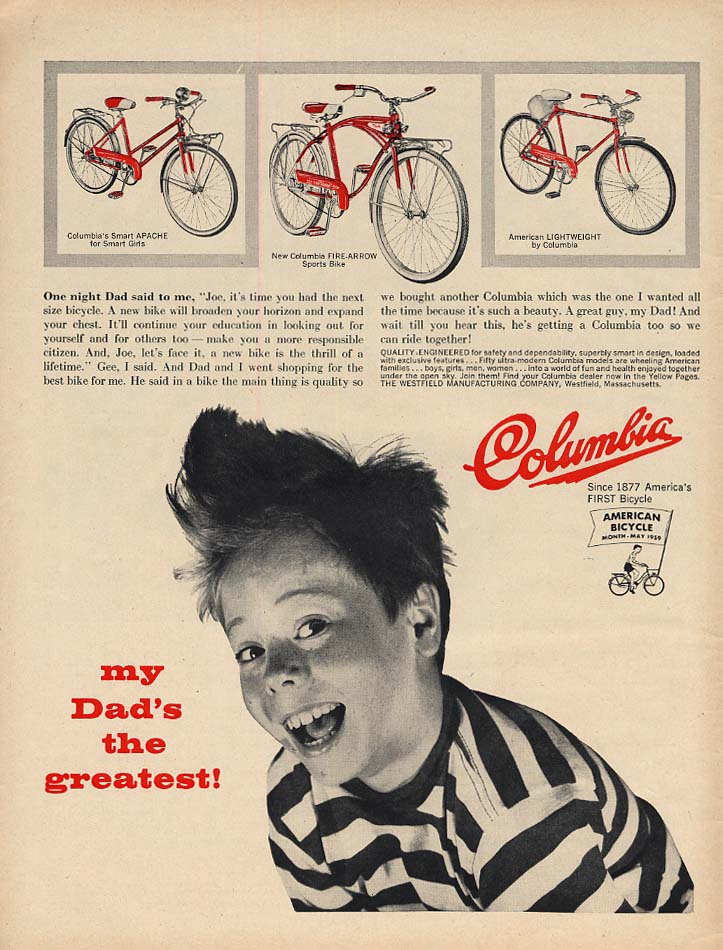My Dad's the greatest! Columbia Bicycle ad 1959 Apache Fire Arrow Lightweight L