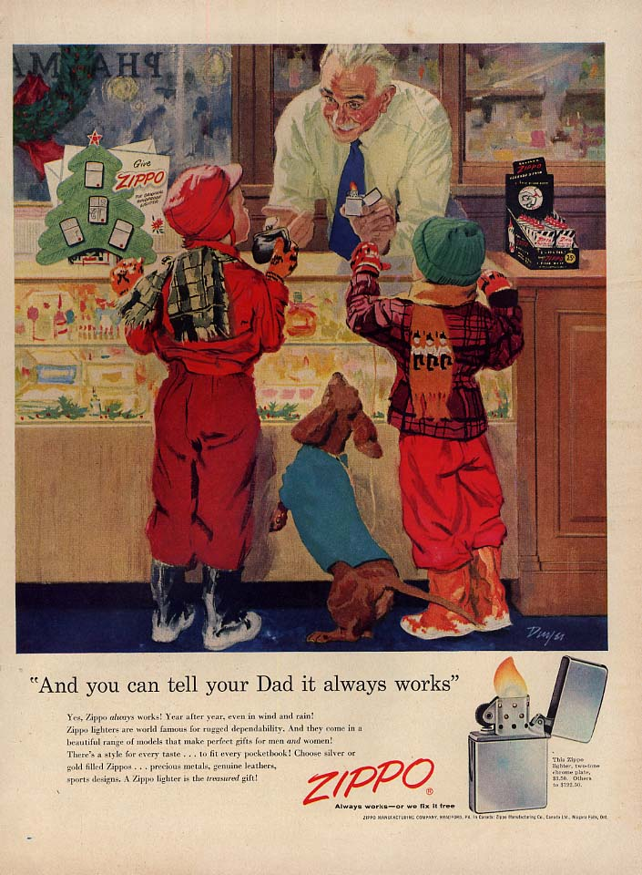 And you can tell your Dad it always works Zippo Lighter ad 1955 kids buying