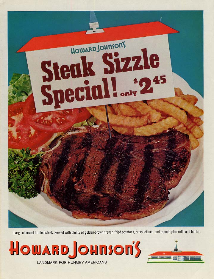 Howard Johnson's Steak Sizzle Special only $2.45 ad 1965 L