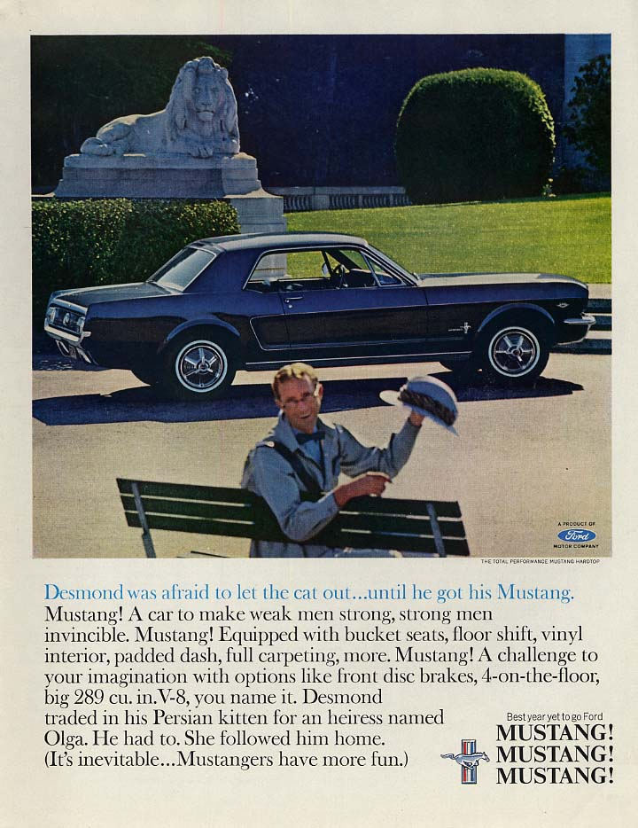 Image for Desmond was afraid to let the cat out until he got his Ford Mustang ad 1965 P
