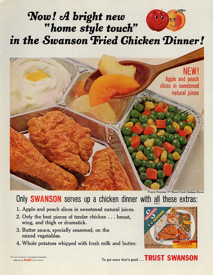 Home Style touch Swanson Fried Chicken TV Dinner ad 1965 P