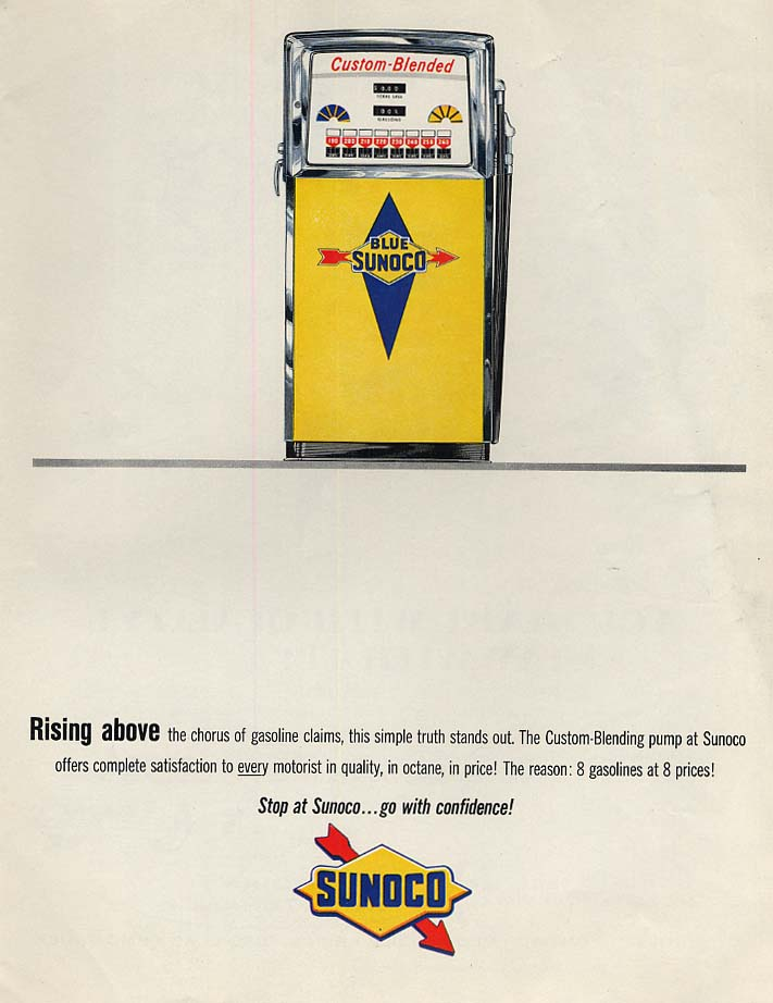 Rising above the chorus of gasoline claims Blue Sunoco Custom-Blended ad 1963 P