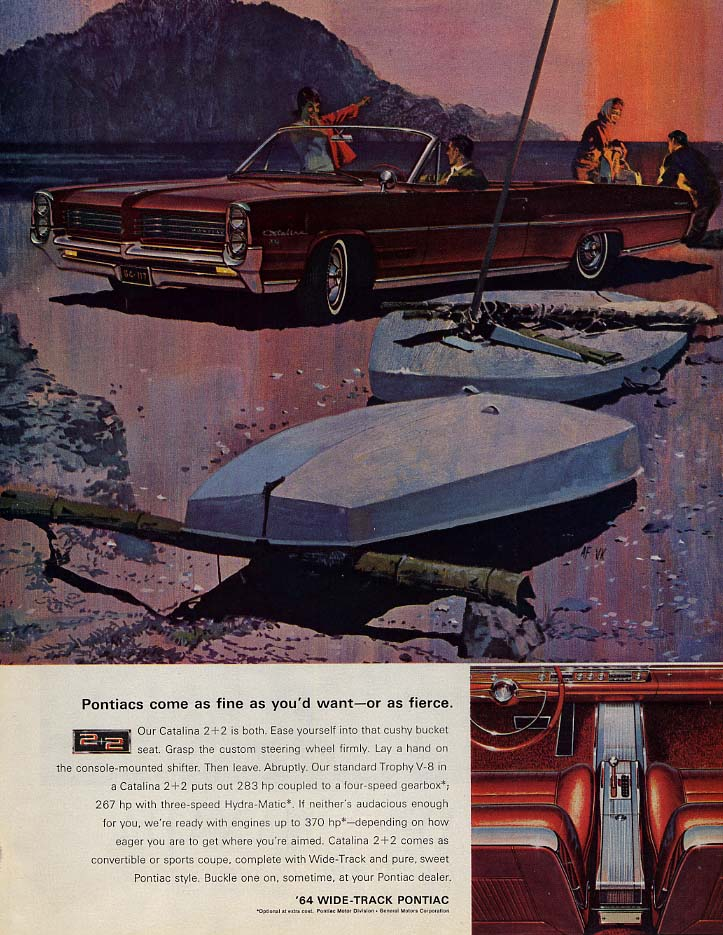 Pontiacs come as fine as you'd want - or as fierce Pontiac 2+2 ad 1964 P