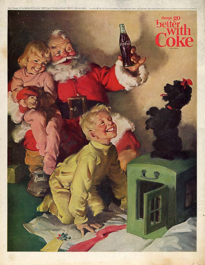 Things go better with Coca-Cola ad 1964 Santa Claus kids & poodle P