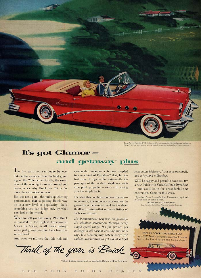 It's got glamor & getaway plus Buick Special Convertible ad 1955 L