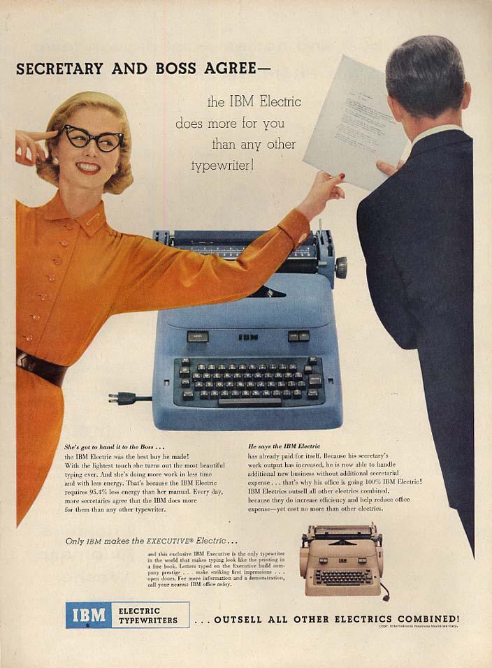 Secretary and Boss agree - IBM Electric Typewriter ad 1955 L