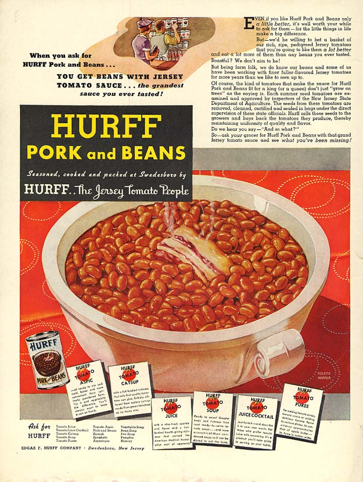 The Jersey Tomato People - Hurff Pork & Beans ad 1937 L