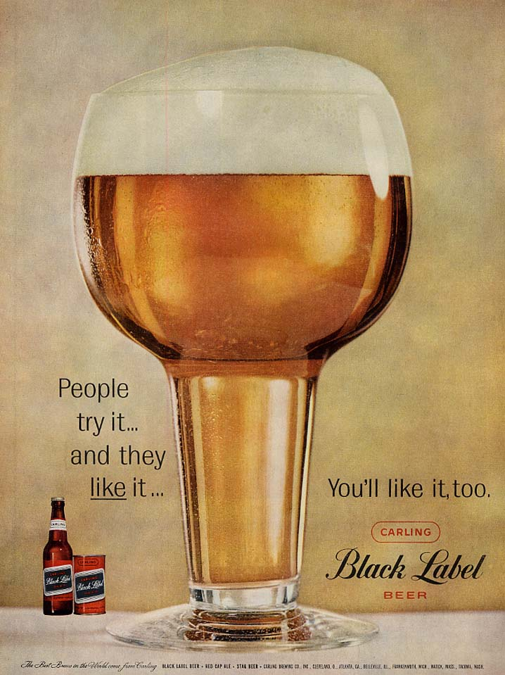 People try it & they like it You'll like it too Carling Black Label Beer ad 1959