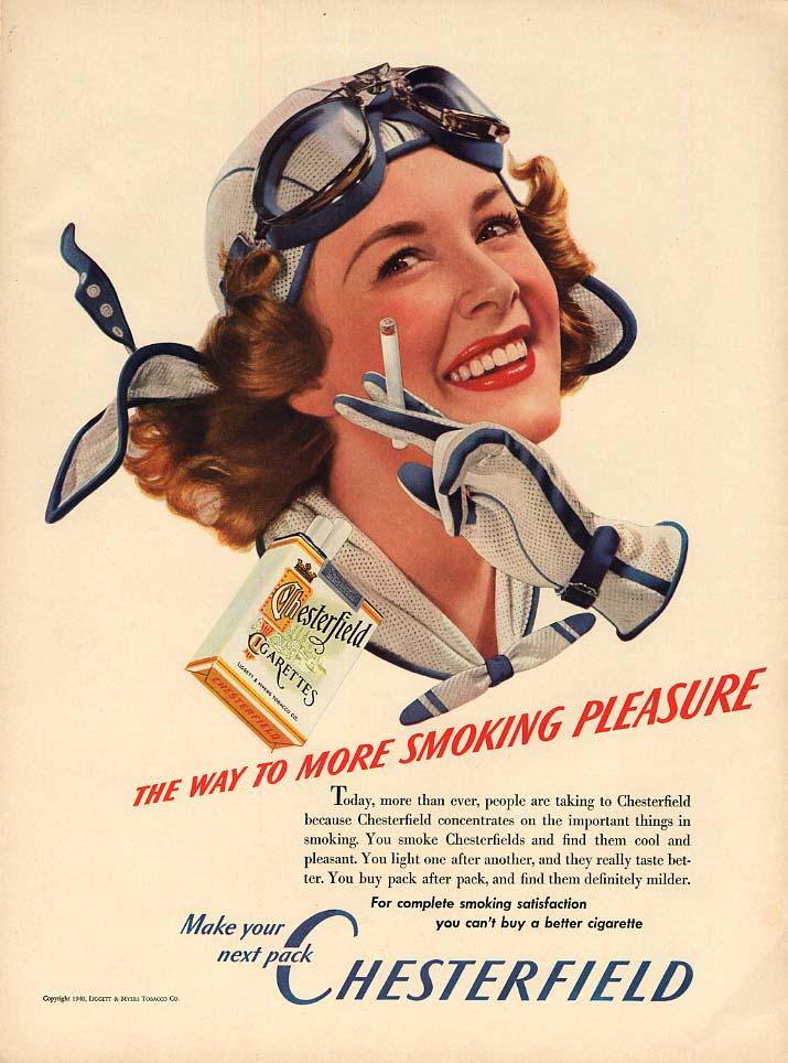 The way to more smoking pleasure Chesterfield Cigarettes ad 1940 aviatrix L