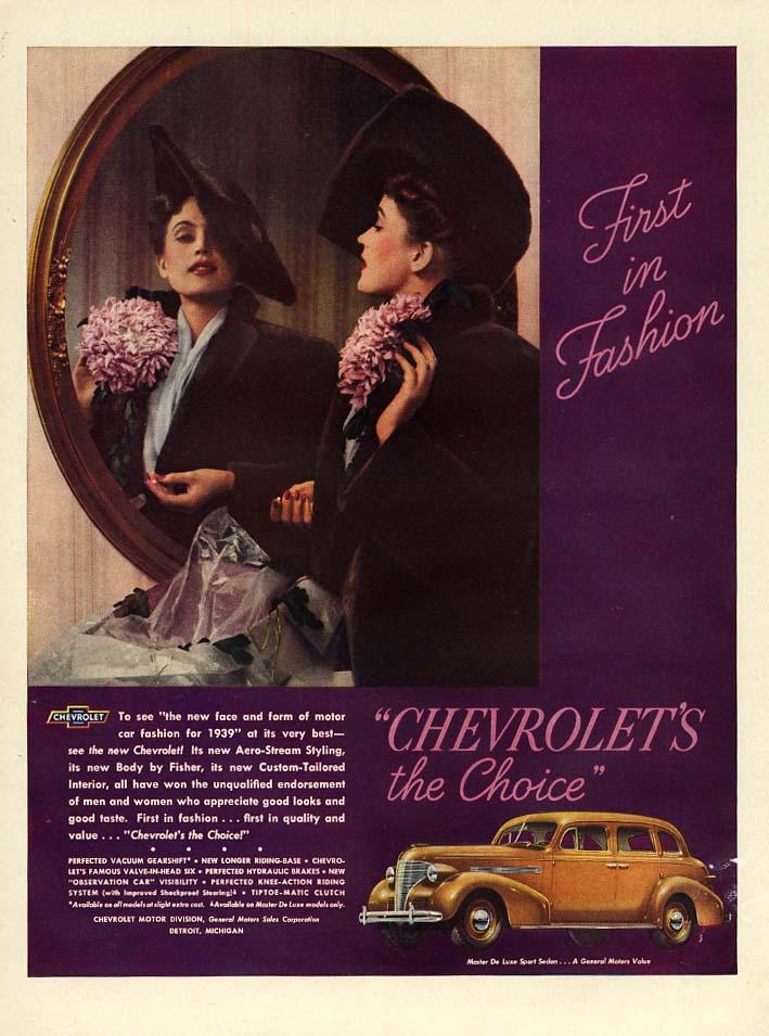 First in Fashion - Chevrolet Master De Luxe Spoprt Sedan ad 1939 L
