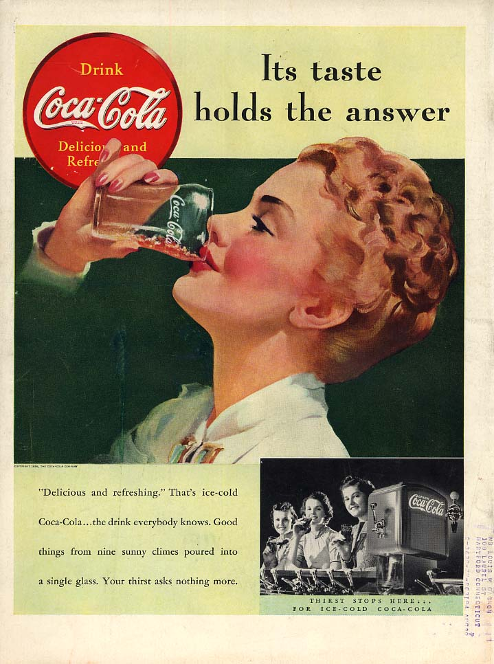 Its taste holds the answer Coca-Cola ad 1939 blonde by Sundblom L