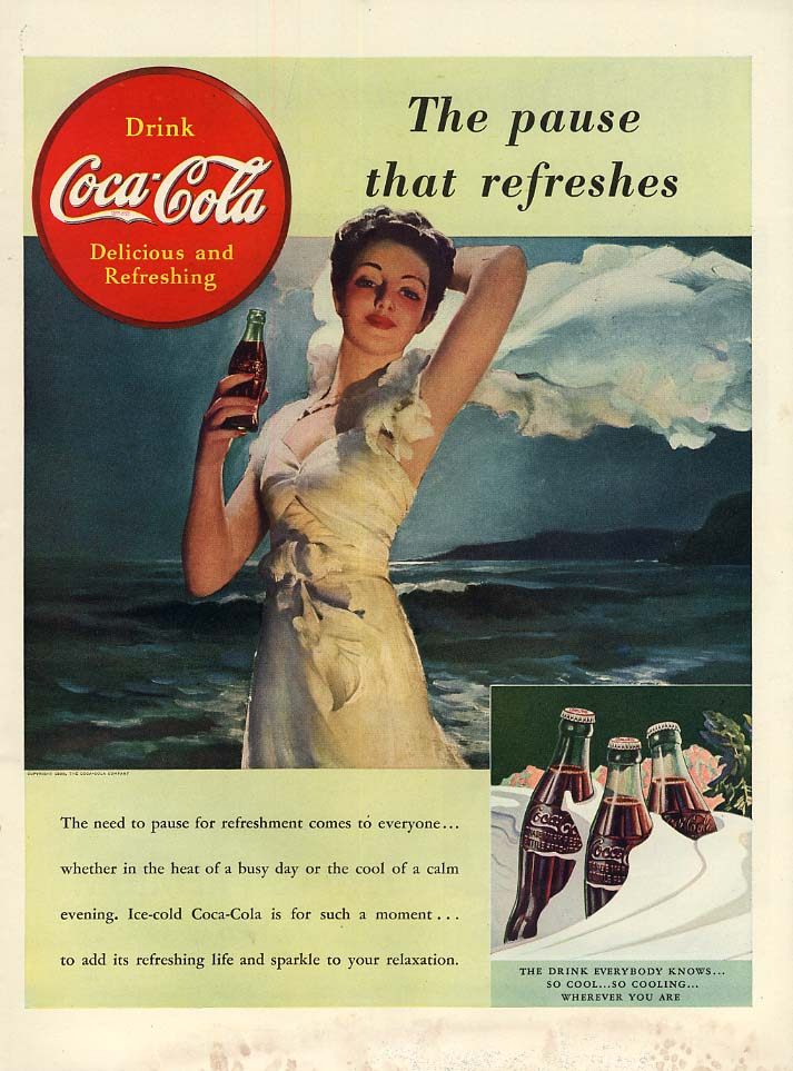 The pause that refreshes Coca-Cola ad 1939 girl on beach L