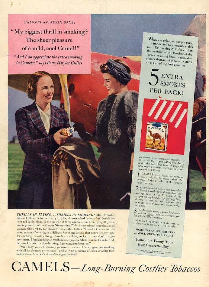 Aviatrix Betty Huyler Gillies for Camel Cigarettes ad 1939 L