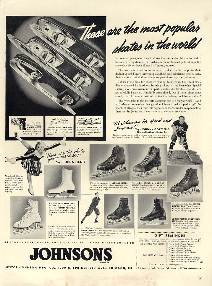 Sonja Henie & Johnny Gottselig for Johnsons Ice Skates ad 1939 L