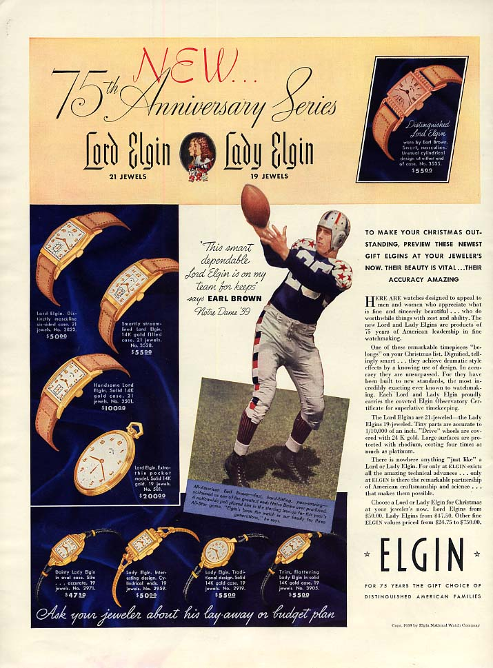 Notre Dame's footballer Earl Brown for Elgin watches ad 1939 L