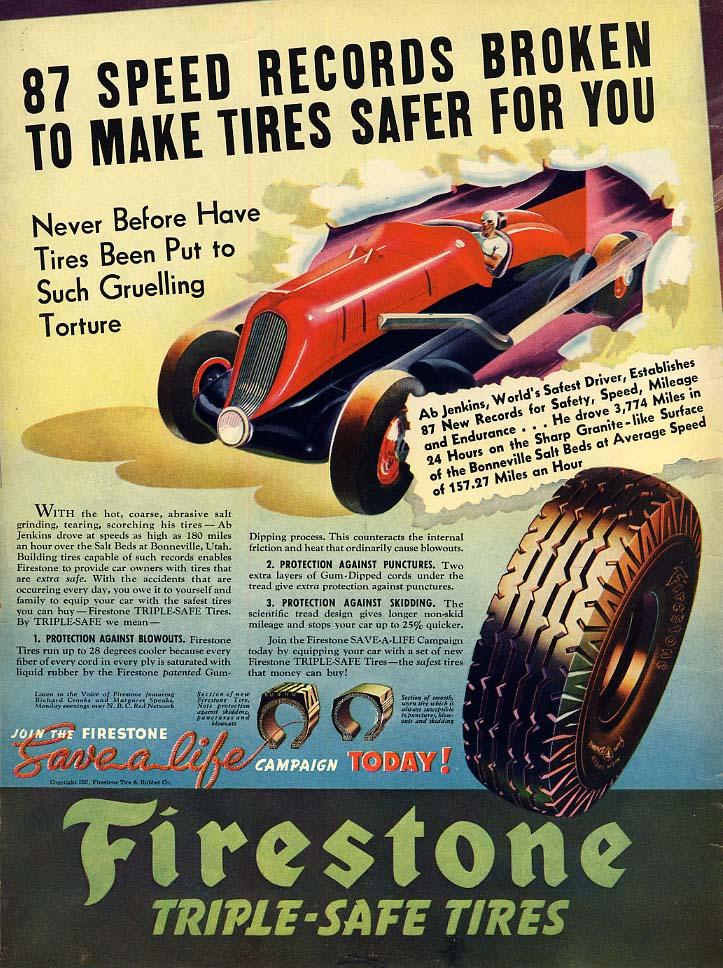 87 speed records broken Mormon Meteor II driver Ab Jenkins Firestone ad 1937 L