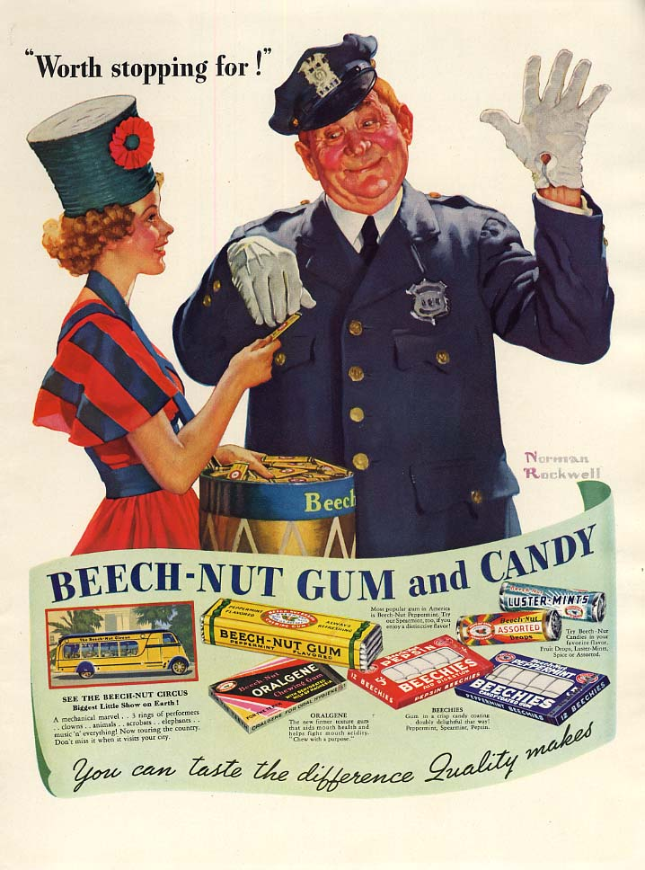 Worth stopping for! Beech-Nut Gum and Candy ad 1937 Norman Rockwell L