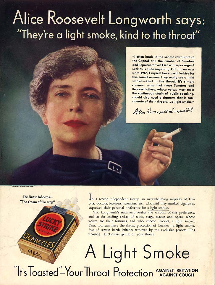 Alice Roosevelt Longworth for Lucky Strike Cigarettes ad 1937 L