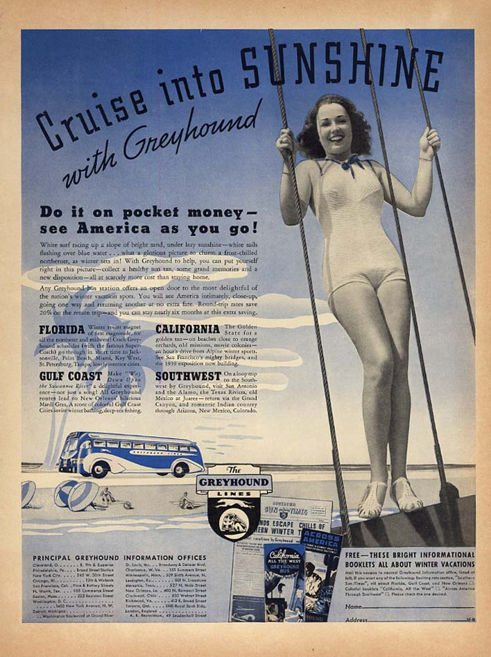 Cruise into sunshine with Greyhound Bus ad 1937 girl in a swimsuit L
