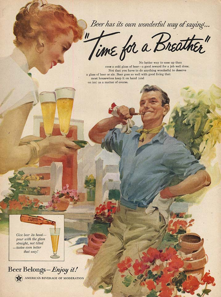Time for a Breather by Haddon Sundblom Beer Belongs ad 1956 L