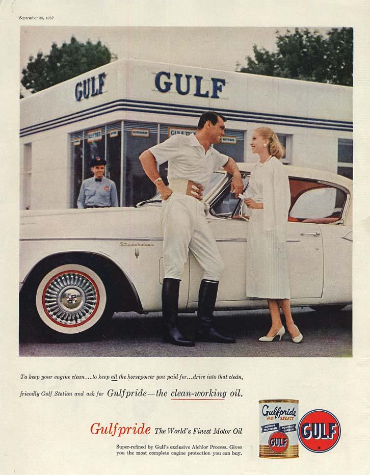 Studebaker Hawk Gulfpride Motor Oil ad 1957 SEP