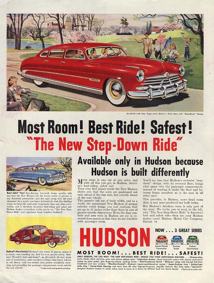 Most room! Best ride! Safest! Hudson Step-Dwn Ride ad 1950 P
