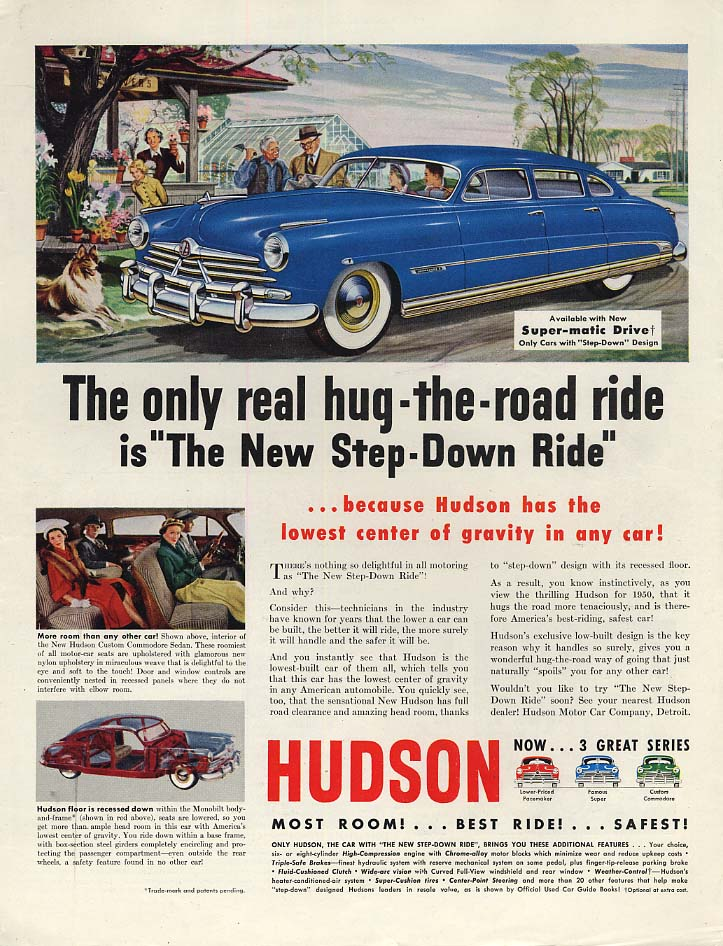The only real hug-the-road ride Hudson Step-Down Ride ad 1950 P