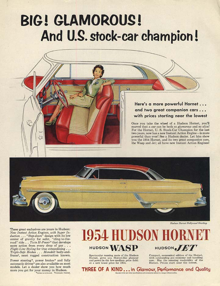 Big! Glamorous! And U S stock-car champion! Hudson Hornet Hollywood ad 1954 P