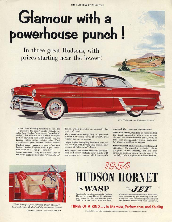Glamour with a powerhouse punch! Hudson Hornet Hollywood HT ad 1954 P