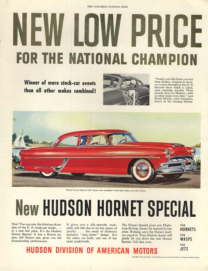 New Low Price for the National Stock-Car Champion Hudson Hornet ad 1954 P