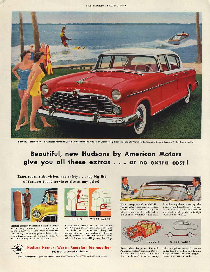 Beautiful new Hudson Hornet Hollywood by American Motors ad 1955 P