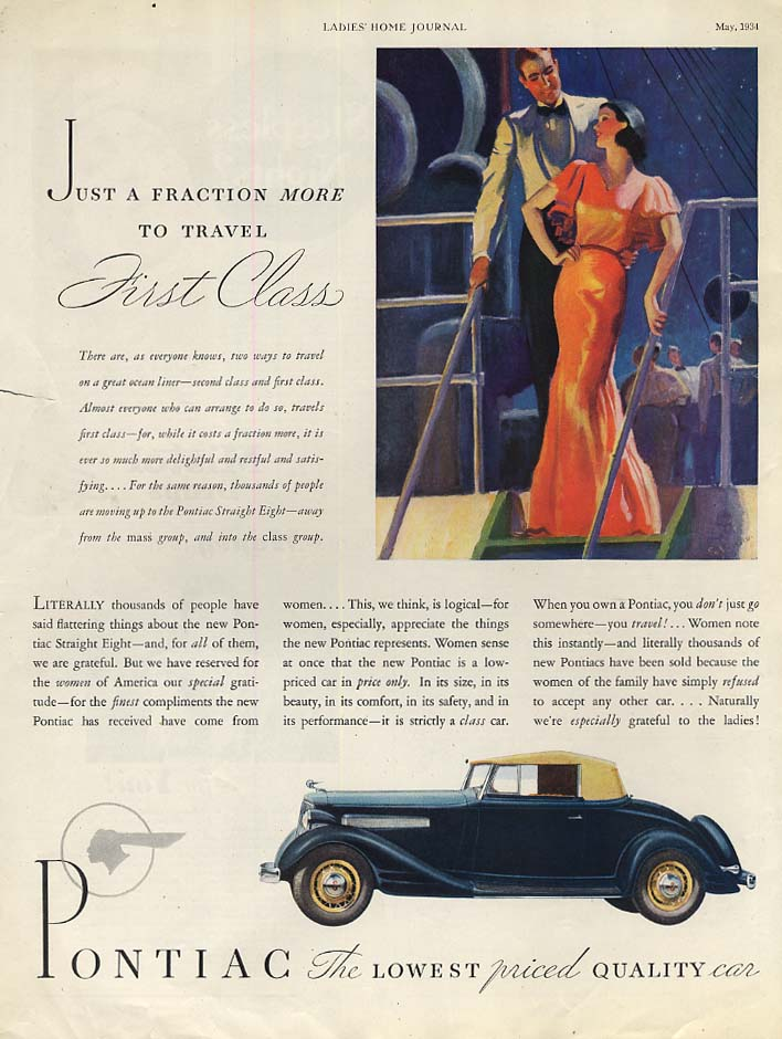 Just a fraction more to travel First Class - Pontiac Convertible Coupe ad 1934 J