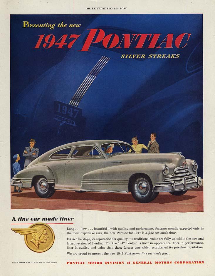 Presenting the Pontiac Silver Streak Streamliner Coupe ad 1947 P