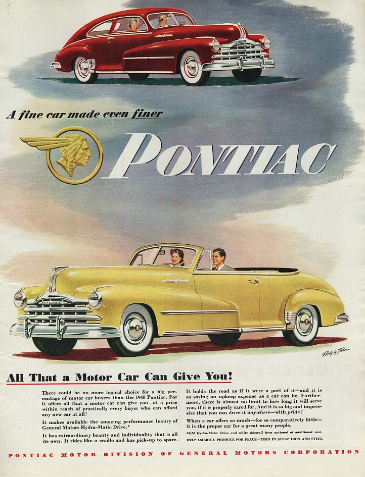 A fine car made even finer Pontiac Streamliner Coupe & Convertible ad 1948 Col