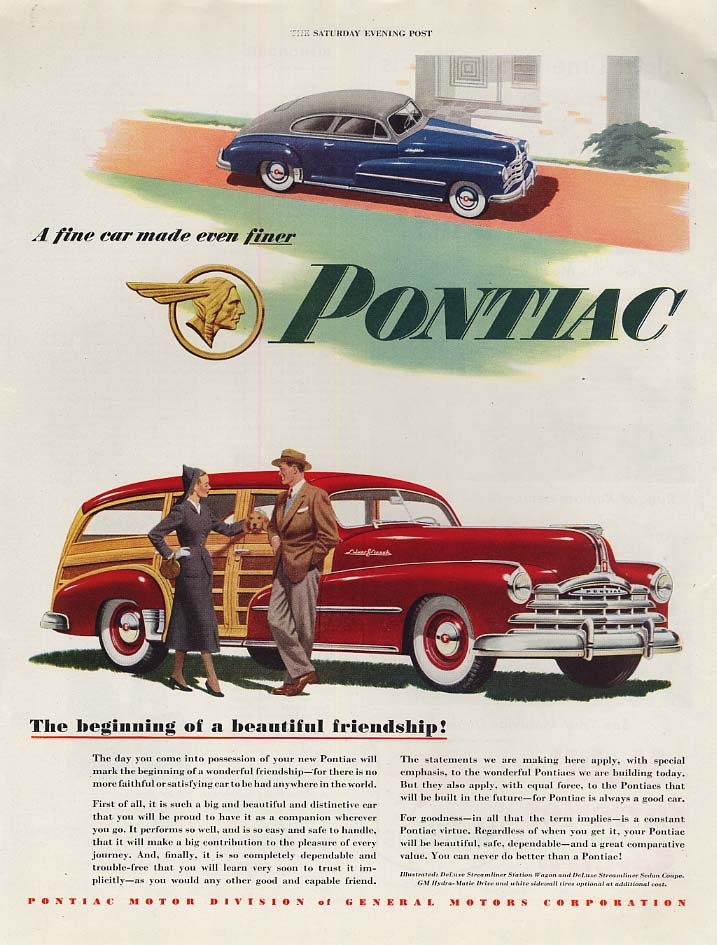 Beginning of a beautiful friendship Pontiac Coupe & Station Wagon ad 1948 P