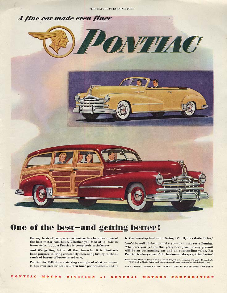 One of the best & getting better Pontiac Ocnvertible & Station Wagon ad 1948 P