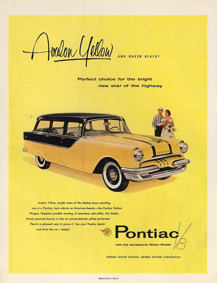 Avalon Yellow and Raven Black! Pontiac Station Wagon ad 1955 H