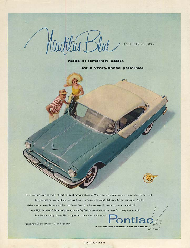 Nautilus Blue and Castle Grey Pontiac 2-door hardtop ad 1955 H