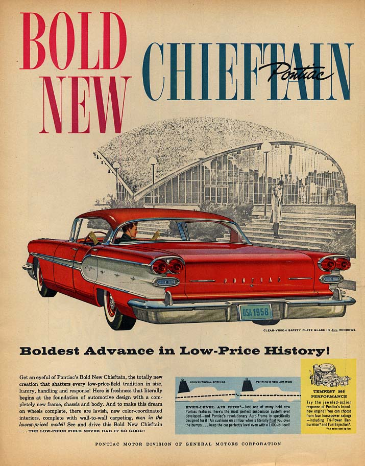 Boldest Advance in Low-Price History! Pontiac Chieftain 4-dr HT ad 1958 LK